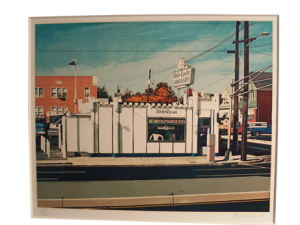 "Signed John Baeder ""White Castle"" museum framed 26""x32"" limited edition serigraph."